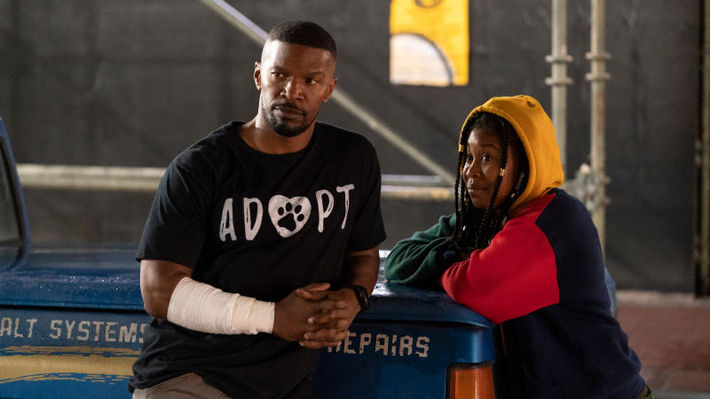 Jamie Foxx as Art and Dominique Fishback as Robin in 'Project Power'. (Credit: Skip Bolen/Netflix)