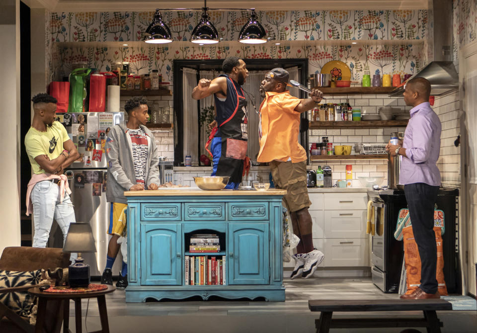 """The cast of """"The Hot Wing King"""" appears during a performance on Feb. 8, 2020. Playwright Katori Hall won the Pulitzer Prize for drama for her play. (Monique Carboni/Blake Zidell & Associates via AP)"""