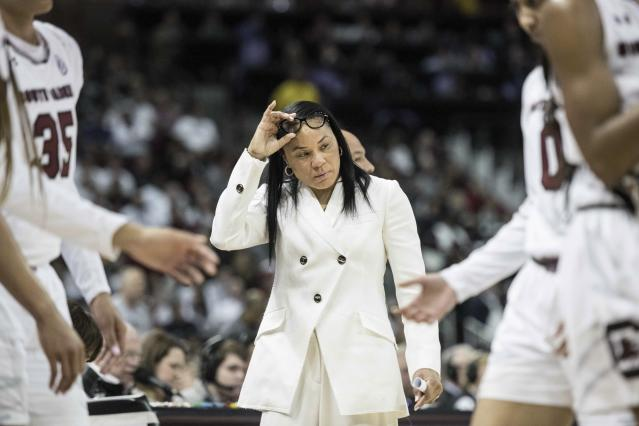 South Carolina coach Dawn Staley reacts after calling a timeout during the first half of the team's NCAA college basketball game against Connecticut on Thursday, Feb. 1, 2018, in Columbia, S.C. (AP Photo/Sean Rayford)