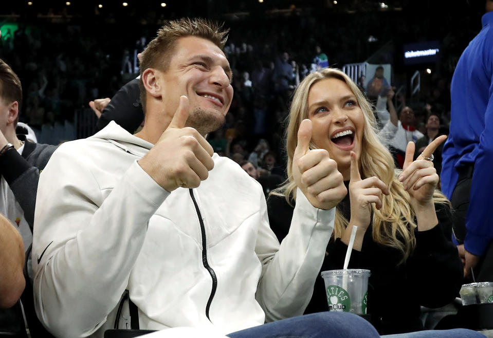 Dec 6, 2019; Boston, MA, USA; Former New England Patriots tight end Rob Gronkowski and his girlfriend, Sports Illustrated swimsuit model Camille Kostek pose for the Jumbotron during the second half of the game between the Boston Celtics and the Denver Nuggets at TD Garden. Mandatory Credit: Winslow Townson-USA TODAY Sports