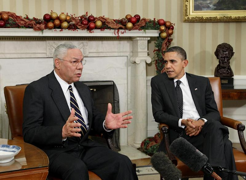 """FILE - In this Dec. 1, 2010 file photo, former Secretary of State Colin Powell meets with President Barack Obama, in the Oval Office at the White in Washington. Powell is declining to renew the endorsement he gave Barack Obama four years ago, when he called Obama """"a transformational figure."""" Pressed in a network interview to say whether he's backing Obama, the former chairman of the Joint Chiefs of Staff demurred Tuesday.  (AP Photo/J. Scott Applewhite, File)"""