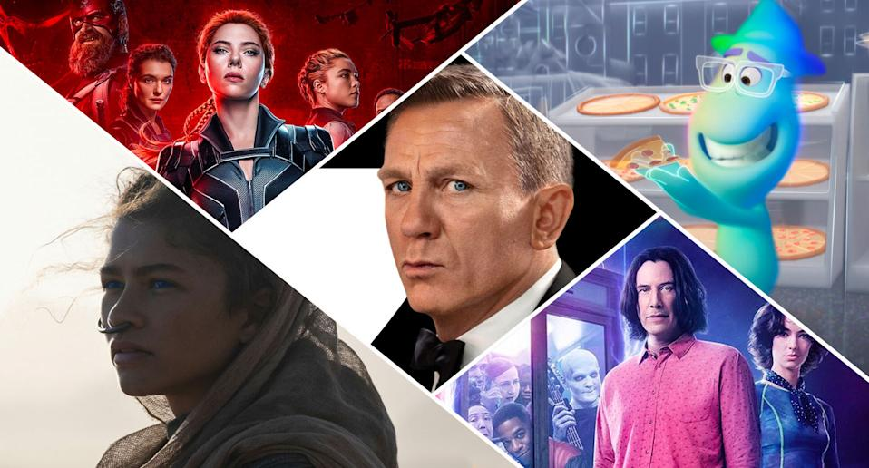 Black Widow, No Time To Die, Soul, Dune and Bill and Ted Face The Music will (hopefully) hit cinemas before winter. (Disney/Universal/MGM/Warner Bros.)