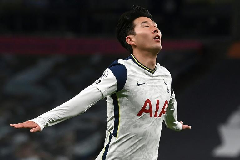 Tottenham's Son Heung-min celebrates scoring against Manchester City