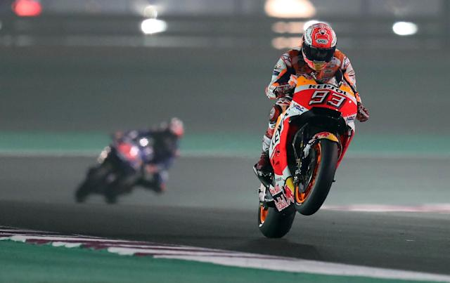 Motorcycle Racing - Qatar Motorcycle Grand Prix - MotoGP Second Qualifying Session - Losail, Qatar, March 17, 2018 - Repsol Honda Team rider Marc Marquez of Spain competes. REUTERS/Ibraheem Al Omari