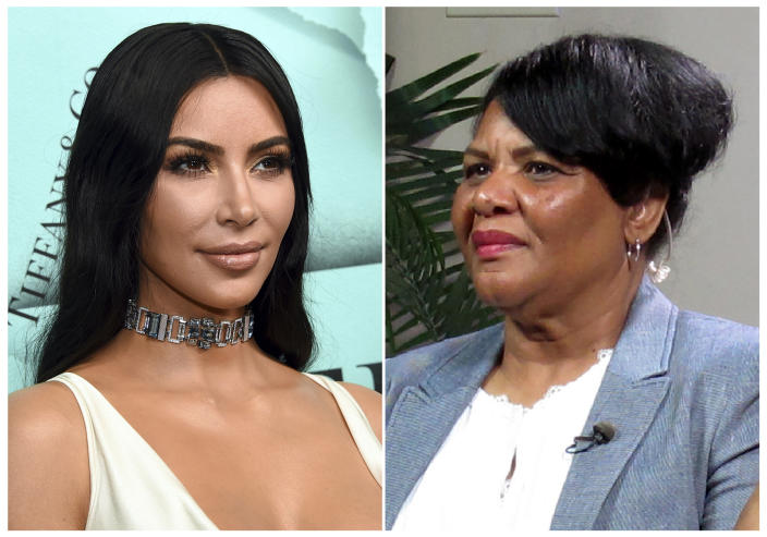 """This combination photo shows Kim Kardashian West at the Tiffany & Co. 2018 Blue Book Collection: The Four Seasons of Tiffany celebration in New York on Oct. 9, 2018, left, and Alice Marie Johnson during an interview on in Memphis, Tenn. on June 7, 2018. Johnson, who Kardashian West helped get out of prison, popped up on the reality star's Instagram feed hawking her new shapewear line. Johnson kicked off a campaign for SKIMS that will feature 25 other real women who will speak to how SKIMS """"empowers them to feel the best versions of themselves."""" (AP Photo)"""