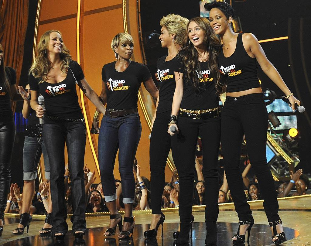 "Miley proved she could compete with the princesses (and queens!) of pop while performing alongside Mariah Carey, Mary J. Blige, Beyonce, and Rihanna at a cancer benefit in September 2008. Kevin Mazur/<a href=""http://www.wireimage.com"" target=""new"">WireImage.com</a> - September 5, 2008"