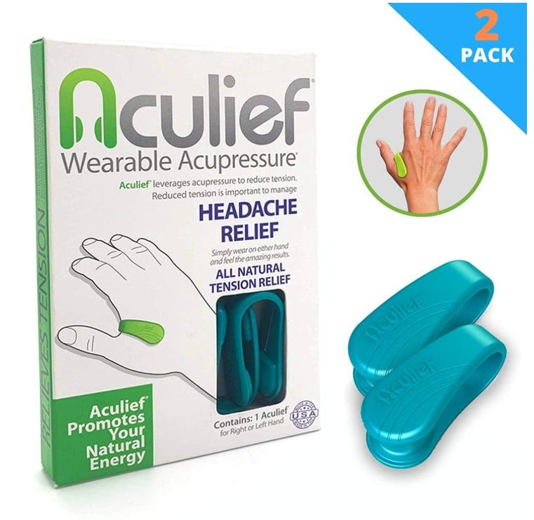 """<p>Now that you're up to speed with the L14 acupressure point, meet <a href=""""https://www.popsugar.com/buy/Aculief-543562?p_name=Aculief&retailer=amazon.com&pid=543562&price=30&evar1=fit%3Aus&evar9=47151034&evar98=https%3A%2F%2Fwww.popsugar.com%2Ffitness%2Fphoto-gallery%2F47151034%2Fimage%2F47151067%2FAculief&list1=healthy%20living&prop13=api&pdata=1"""" rel=""""nofollow"""" data-shoppable-link=""""1"""" target=""""_blank"""" class=""""ga-track"""" data-ga-category=""""Related"""" data-ga-label=""""https://www.amazon.com/Aculief-Winning-Natural-Headache-Tension/dp/B07B5PJH5R/ref=sr_1_5?keywords=Aculief&amp;qid=1579884045&amp;sr=8-5"""" data-ga-action=""""In-Line Links"""">Aculief</a> ($30 for a two-pack). This plastic clamp applies pressure to the space between your pointer finger and thumb, so you don't have to. <a href=""""https://aculief.com/pages/faq"""" target=""""_blank"""" class=""""ga-track"""" data-ga-category=""""Related"""" data-ga-label=""""https://aculief.com/pages/faq"""" data-ga-action=""""In-Line Links"""">Within a half-hour</a>, you'll notice headache and tension relief, while also feeling an increase in natural energy.</p>"""