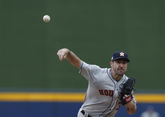 Houston Astros' Justin Verlander pitches during the first inning of a baseball game against the Los Angeles Angels, in Monterrey, Mexico, Sunday, May 5, 2019. (AP Photo/Rebecca Blackwell)