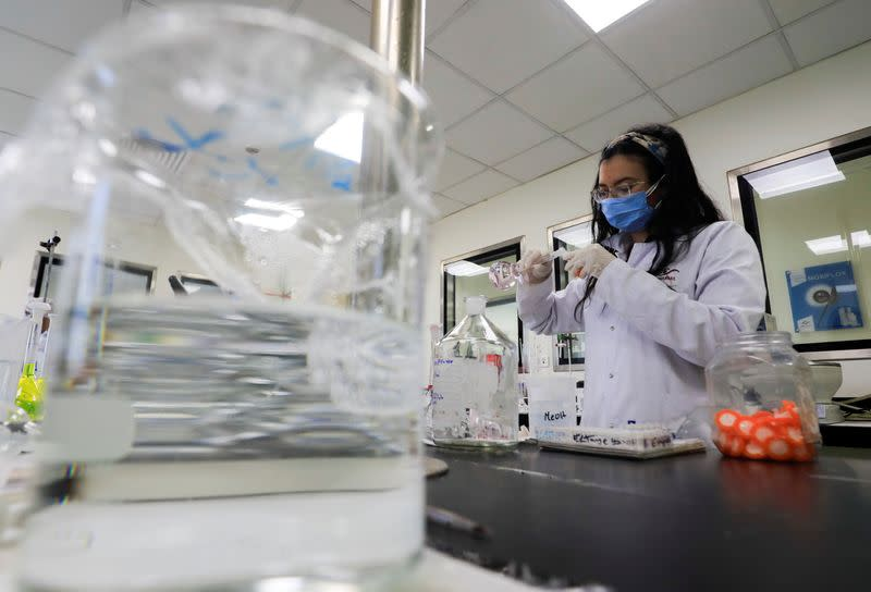 "FILE PHOTO: A pharmacist doctor works on the basics of the raw materials for investigational of the coronavirus disease (COVID-19) treatment drug ""Remdesivir"", in Ibn Sina laboratory, at Eva Pharma Facility in Cairo"