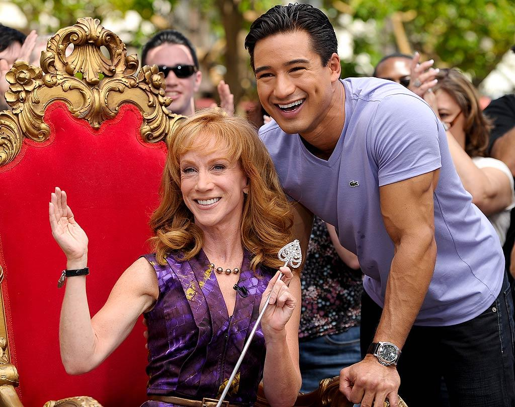 "Kathy Griffin got to be queen for a day while visiting with ""Extra"" host Mario Lopez at The Grove in Los Angeles. The funny lady was promoting her special, ""Kathy Griffin's Insightful and Hilarious Take on the Royal Wedding,"" which premieres April 29 at 8 p.m. ET/PT on the TV Guide Network. Noel Vasquez/<a href=""http://www.gettyimages.com/"" target=""new"">GettyImages.com</a> - April 25, 2011"