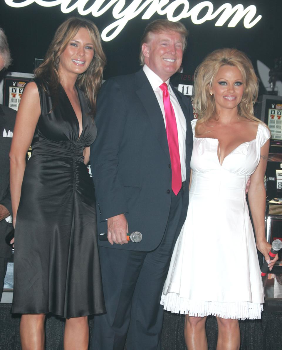 Pamela Anderson and Melania Trump helped Donald Trump celebrate his birthday at Trump Taj Mahal in 2005. (Photo: James Devaney/WireImage)
