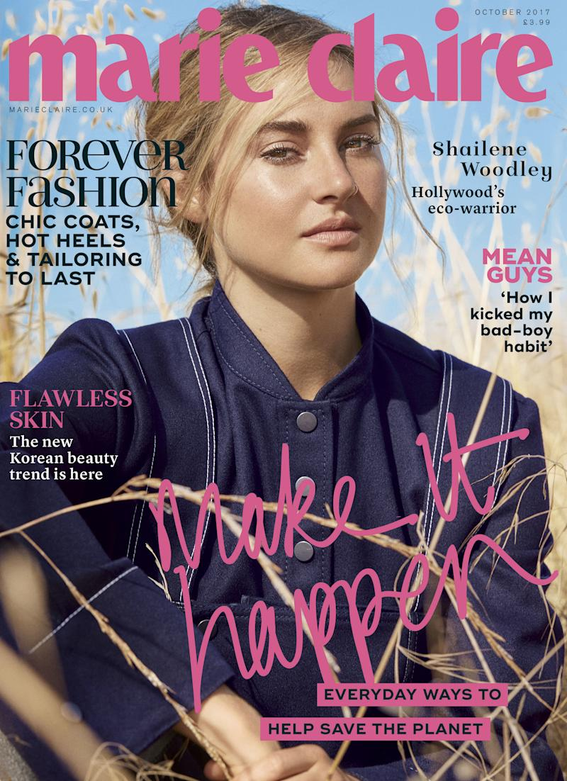 Shailene Woodley on the cover of Marie Claire U.K.'s October issue.  (Marie Claire UK)