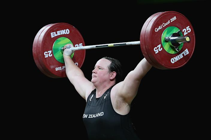 GOLD COAST, AUSTRALIA - APRIL 09:  Laurel Hubbard of New Zealand competes in the Women's 90kg Final during Weightlifting on day five of the Gold Coast 2018 Commonwealth Games at Carrara Sports and Leisure Centre on April 9, 2018 on the Gold Coast, Australia.  (Photo by Alex Pantling/Getty Images)