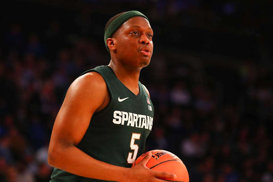 NEW YORK, NY - NOVEMBER 05:  Michigan State Spartans guard Cassius Winston (5) during the first half of the 2019 State Farm Champions Classic  college basketball game between the Michigan State Spartans and the Kentucky Wildcats on November 5, 2019 at Madison Square Garden in New York, NY.  (Photo by Rich Graessle/Icon Sportswire via Getty Images)