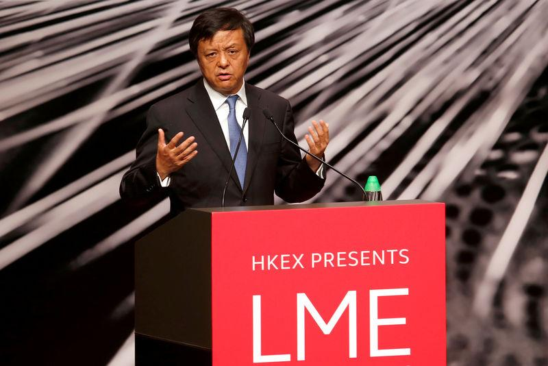FILE PHOTO: Hong Kong Exchanges and Clearing Ltd Chief Executive Charles Li addresses LME Asia Week in Hong Kong