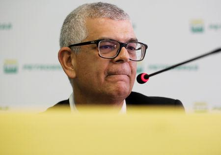 Ivan Monteiro, President of Brazil's state-run oil company Petroleo Brasileiro SA (Petrobras), reacts during a news conference in Sao Paulo