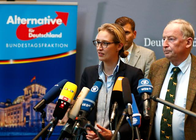 Anti-immigration AfD party top candidates Alice Weidel and Alexander Gauland make a statement after their first parliamentary meeting in Berlin on Tuesday.