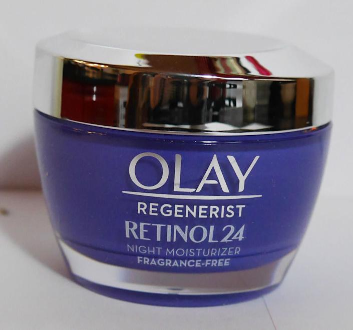 """As for retinols, Saedi recommends the Oil of Olay Regenerist line and Skinceutical retinol cream. &lt;br&gt;&lt;br&gt;<br><a href=""""https://www.olay.com/regenerist-retinol-24-night-facial-moisturizer-fragrance-free"""" rel=""""nofollow noopener"""" target=""""_blank"""" data-ylk=""""slk:Oil of Olay Regenerist Retinol24"""" class=""""link rapid-noclick-resp""""><strong>Oil of Olay Regenerist Retinol24 </strong></a><strong>, $39</strong>"""
