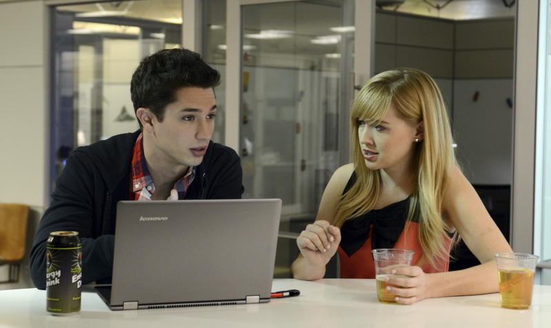 "FILE - This undated file image provided by Amazon shows actors Joe Dinicol, left, and Sarah Stouffer in a scene from an episode of ""Betas,"" one of 14 TV show pilots being made by Amazon.com Inc.  Amazon said Wednesday, May 29, 2013, that it will produce a pair of new comedy shows and three new kids shows for viewing on its video streaming service, capping a one-of-a-kind experiment that gave viewers a say in the selections. The five shows were culled from 14 pilots that were put up for free on its website and made available over Amazon's video apps on mobile devices and game consoles starting in April. (AP Photo/Amazon, File)"