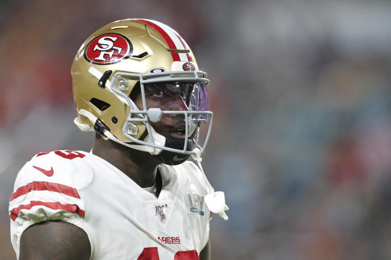San Francisco 49ers wide receiver Deebo Samuel is undergoing surgery Thursday after breaking a bone in his left foot during informal workouts with teammates in Tennessee. (AP Photo/Gregory Payan)