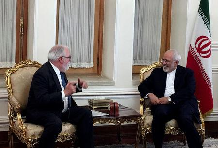 Iranian Foreign Minister Mohammad Javad Zarif meets with European Commissioner for Energy and Climate, Miguel Arias Canete, in Tehran