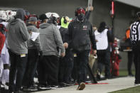 Washington State coach Nick Rolovich along the sideline during the first half of the team's NCAA college football game against Oregon State in Corvallis, Ore., Saturday, Nov. 7, 2020. (AP Photo/Amanda Loman)