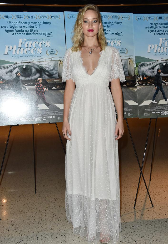 Jennifer Lawrence also turned to bridal wear for the premiere of 'Faces Places' (Getty)