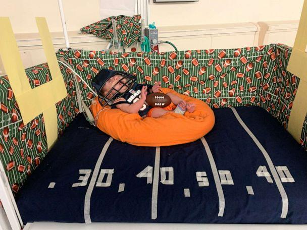PHOTO: This little guy is dressed up as a football player. (Advocate Children's Hospital)