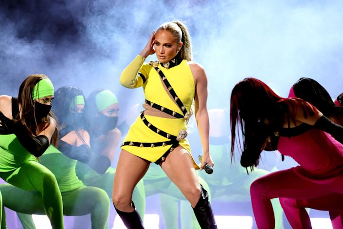 Jennifer Lopez performs onstage during Global Citizen's 'VAX LIVE: The Concert To Reunite The World' at SoFi Stadium on May 2, 2021, in Inglewood, Calif.  The concert  will stream on YouTube and be broadcast on ABC and CBS on May 8.