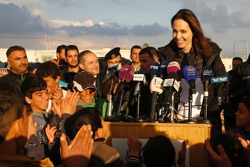 United Nations refugee agency special envoy Angelina Jolie holds a press conference during a visit to Jordan's Zaatari camp for Syrian refugees on January 28, 2018