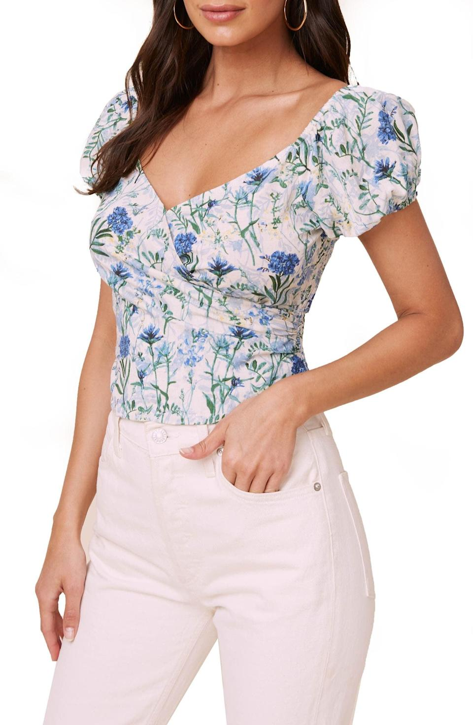 <p>This flirty <span>ASTR the Label Floral Surplice Linen &amp; Cotton Crop Top</span> ($35, originally $59) is a great choice for your next date.</p>