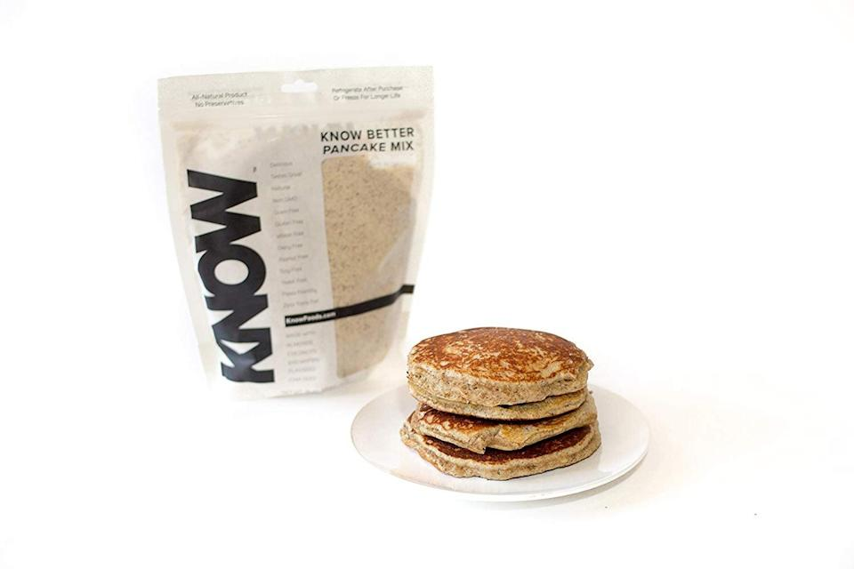 """<p>With only 2 grams of net carbs, you'll be whipping up this <a href=""""https://www.popsugar.com/buy/Know%20Foods%20Know%20Better%20Pancake%20Mix-436269?p_name=Know%20Foods%20Know%20Better%20Pancake%20Mix&retailer=amazon.com&price=13&evar1=fit%3Aus&evar9=46042877&evar98=https%3A%2F%2Fwww.popsugar.com%2Ffitness%2Fphoto-gallery%2F46042877%2Fimage%2F46043282%2FKnow-Foods-Know-Better-Pancake-Mix&list1=shopping%2Camazon%2Cbreakfast%2Cpancakes%2Cbreakfast%20food%2Chealthy%20breakfast%2Cwaffles%2Cprotein%20pancakes%2Clow-carb&prop13=api&pdata=1"""" rel=""""nofollow noopener"""" target=""""_blank"""" data-ylk=""""slk:Know Foods Know Better Pancake Mix"""" class=""""link rapid-noclick-resp"""">Know Foods Know Better Pancake Mix</a> ($13) every day.</p>"""
