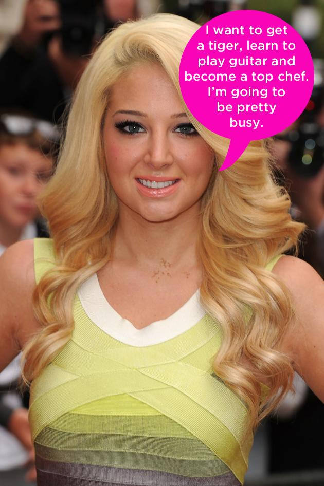 "Celebrity quotes: Tulisa revealed her unusual plans for retirement his week, saying that she had a few things on her to do list. The singer said: ""When I retire, I want to buy a home there. I want to get a tiger, learn to play the guitar and be a top chef, so I'm going to be pretty busy when I'm old. I'd train the tiger from a cub, and then pray it didn't eat me."""