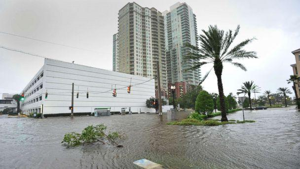 PHOTO: Street flooding is prevalent on the Southbank of downtown as Hurricane Irma passes by in Jacksonville, Fla., Sept. 11, 2017. (Will Dickey/The Florida Times-Union via AP)