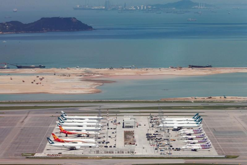 FILE PHOTO: Cathay Pacific Airways planes are seen at the Hong Kong International Airport