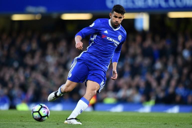 Chelsea's striker Diego Costa passes the ball during the English Premier League football match against Southampton April 25, 2017