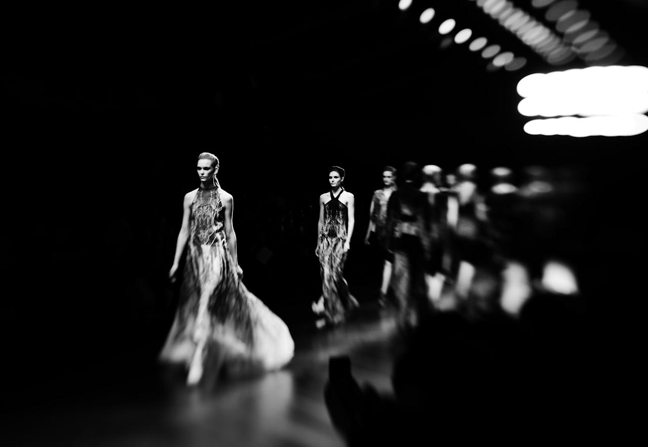 LONDON, ENGLAND - FEBRUARY 19:  (EDITORS NOTE: This image was produced using a lens baby selective focus lens and processed with digital filters) A model walks the runway during the Maria Grachvogel show as part of London Fashion Week Fall/Winter 2013/14  on February 19, 2013 in London, England.  (Photo by Gareth Cattermole/Getty Images)