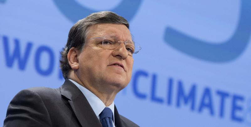 European Commission President Jose Manuel Barroso speaks during a media conference at EU headquarters in Brussels on Wednesday, Jan. 22, 2014. The European Commission on Wednesday proposed a framework for climate and energy policies beyond 2020 and up to 2030. (AP Photo/Virginia Mayo)