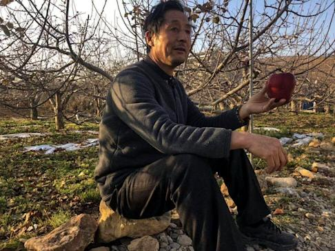 Zhang, a recent convert to live-streaming, eats an apple grown in his orchard. Photo: Zhang Jiacheng