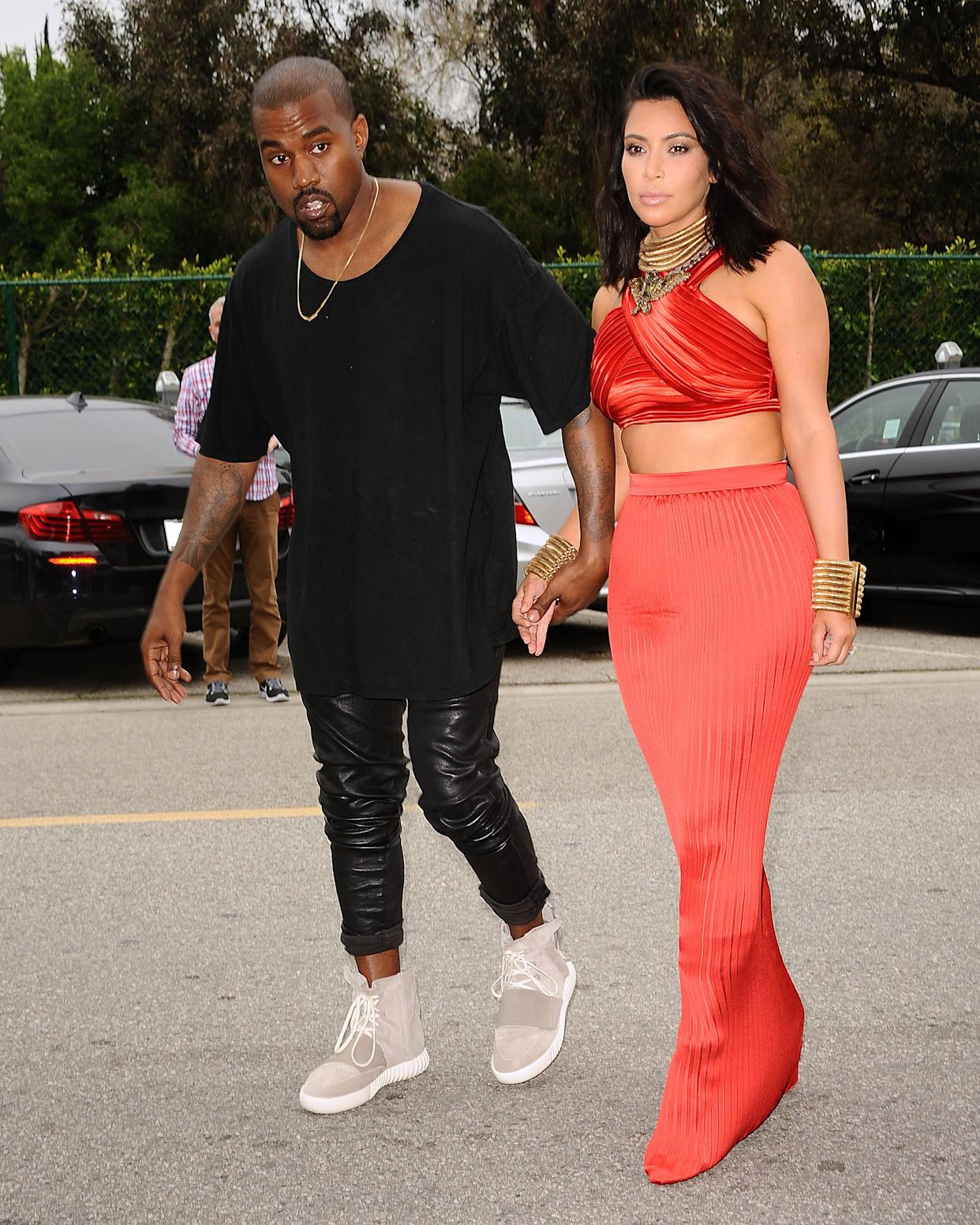 Wearing the Yeezy 3 sneakers 'Yeezy 750 Boost' at the Roc Nation Grammy brunch on February 7 in Beverly Hills.