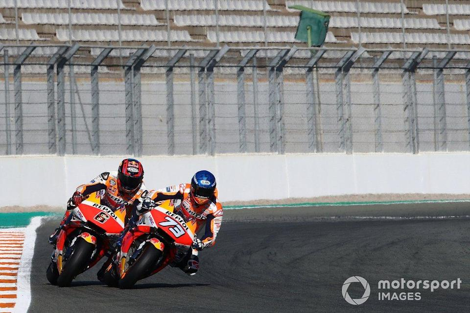 "Alex Marquez, Stefan Bradl, Repsol Honda Team <span class=""copyright"">Gold and Goose / Motorsport Images</span>"