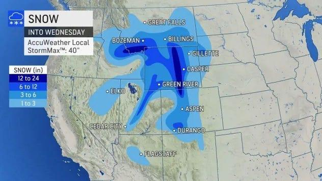 A fall snowstorm will bury portions of the West under feet of snow.