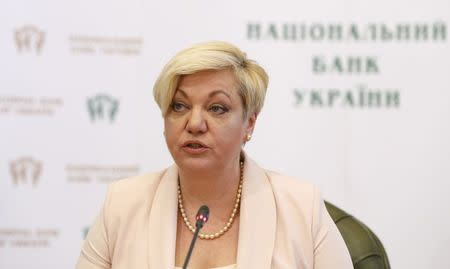 Ukraine's Central Bank Governor Gontareva attends a news conference in Kiev