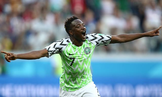 Ahmed Musa celebrates scoring his second goal for Nigeria against Iceland in their World Cup Group D match at the Volgograd Arena.
