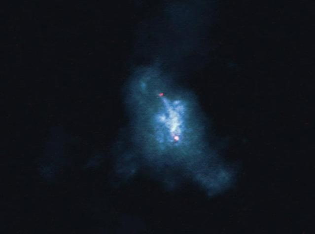 Two black holes are colliding (NRAO)