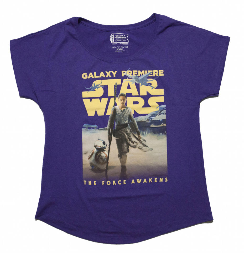 <p>Available in adult sizes, this shirt salutes the girl power of the film's protagonist, Rey. A high-low T-shirt version of this design is available in youth sizes. ($25 dolman, $20 tee)</p>