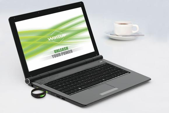 A laptop with a WattUp near-field transmitter.