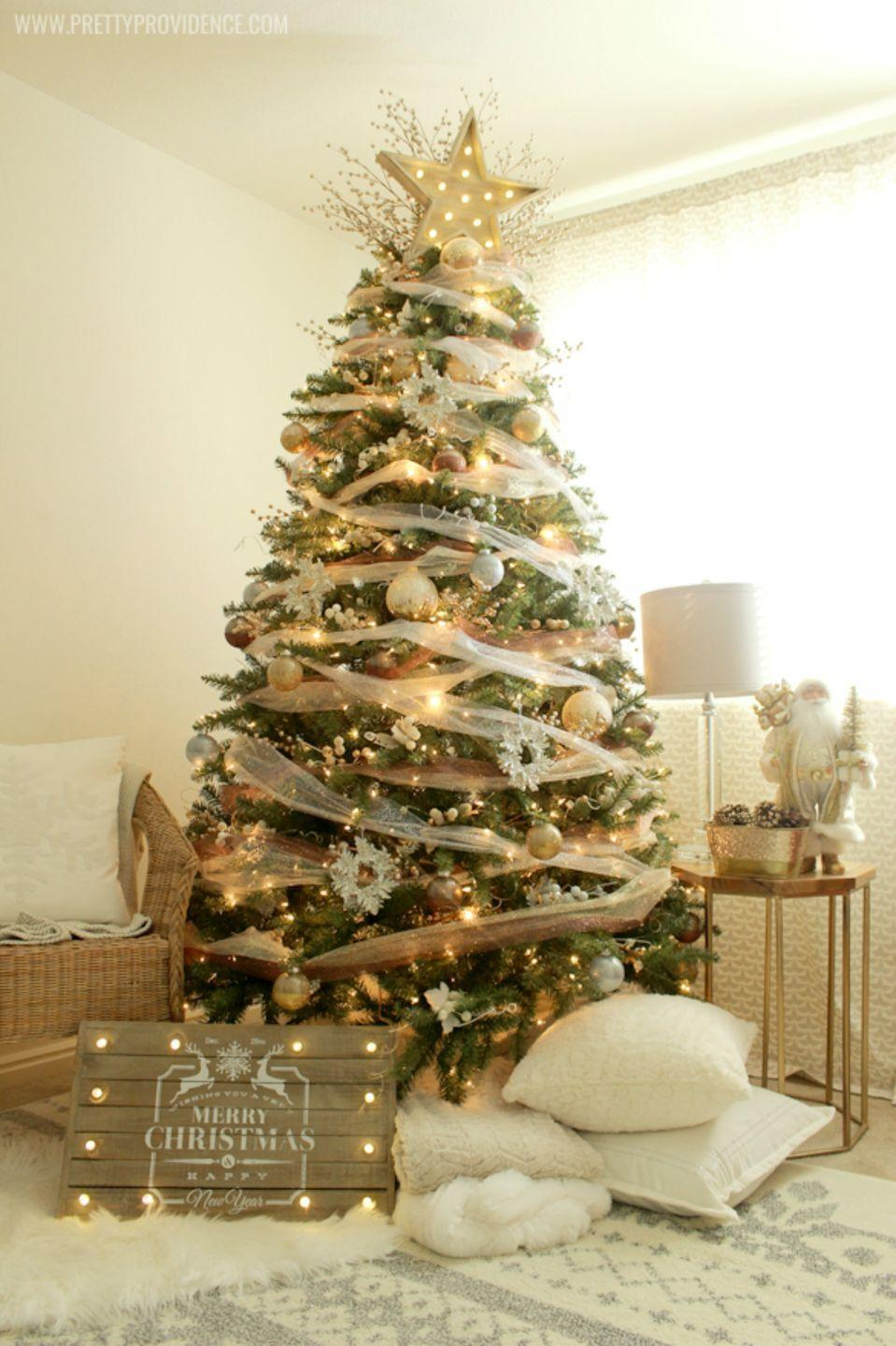 """<p>If you're overwhelmed with red and green during the holidays, give your living room an elegant touch soft white and gold accents with this decorated tree idea. <br></p><p><em><strong>Get the tutorial at </strong><strong><a href=""""http://prettyprovidence.com/whimsical-precious-metals-christmas-tree/"""" rel=""""nofollow noopener"""" target=""""_blank"""" data-ylk=""""slk:Pretty Providence."""" class=""""link rapid-noclick-resp"""">Pretty Providence.</a></strong></em></p><p><a class=""""link rapid-noclick-resp"""" href=""""https://www.amazon.com/Christmas-Decorative-Shatterproof-Pendants-Ornaments/dp/B01M2554EX/?tag=syn-yahoo-20&ascsubtag=%5Bartid%7C10070.g.2025%5Bsrc%7Cyahoo-us"""" rel=""""nofollow noopener"""" target=""""_blank"""" data-ylk=""""slk:BUY GOLD ORNAMENTS"""">BUY GOLD ORNAMENTS</a></p>"""