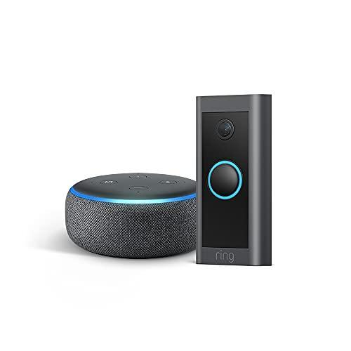 Ring Video Doorbell Wired bundle with Echo Dot (Gen 3) - Charcoal