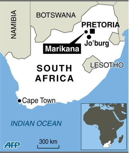 Map of South Africa locating the Marikana mine, the scene of a deadly attacks on miners in 2012 (AFP Photo/)